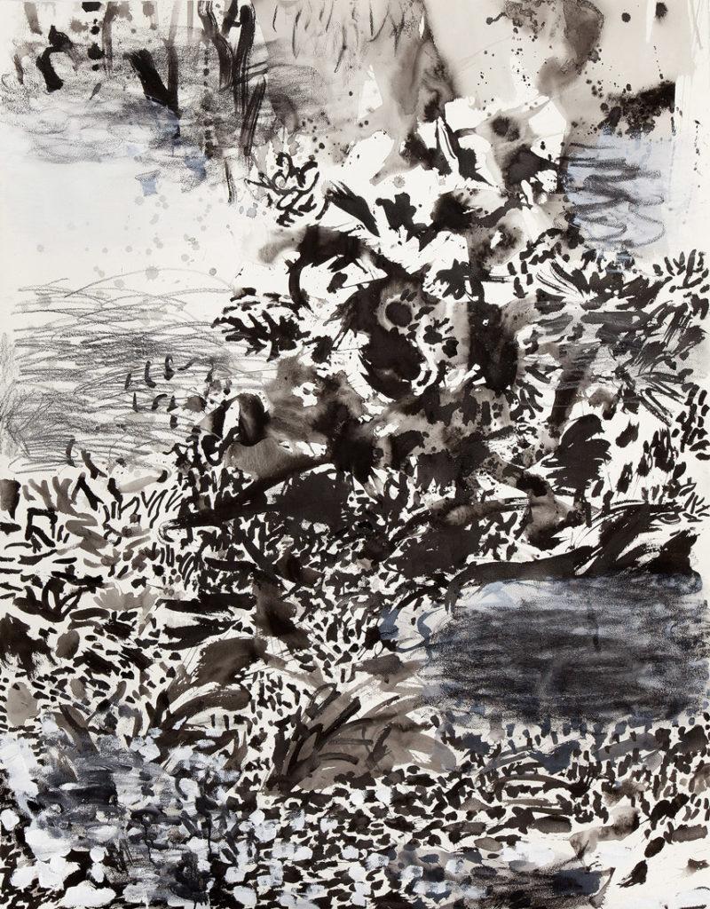 Escondida en el jardín | Tinta china, acuarela / papel. 180 x 140 cm. 2014