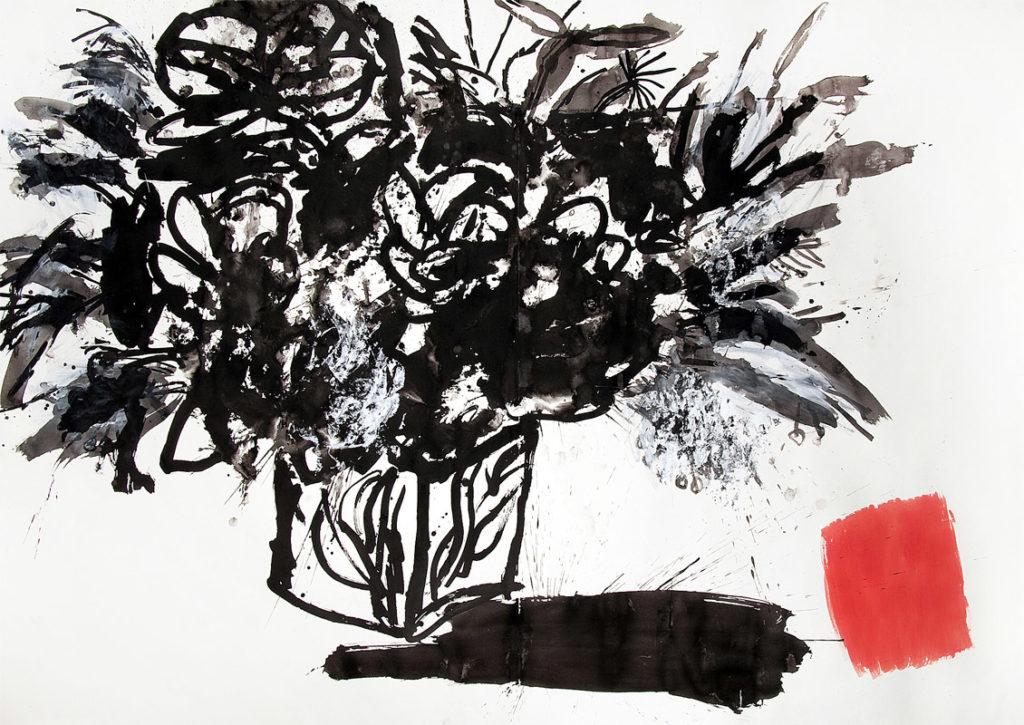 Flores | Tinta china, acuarela / papel. 200 x 280 cm. 2009