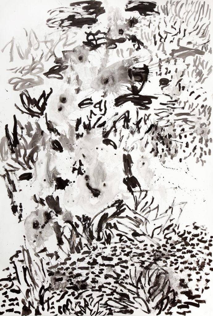 Flores blancas | Tinta china / papel. 222 x 150 cm. 2014
