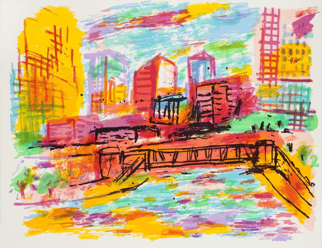 Chicago con puente | Serigrafía 12 colores. 50 x 65 cm. 2005