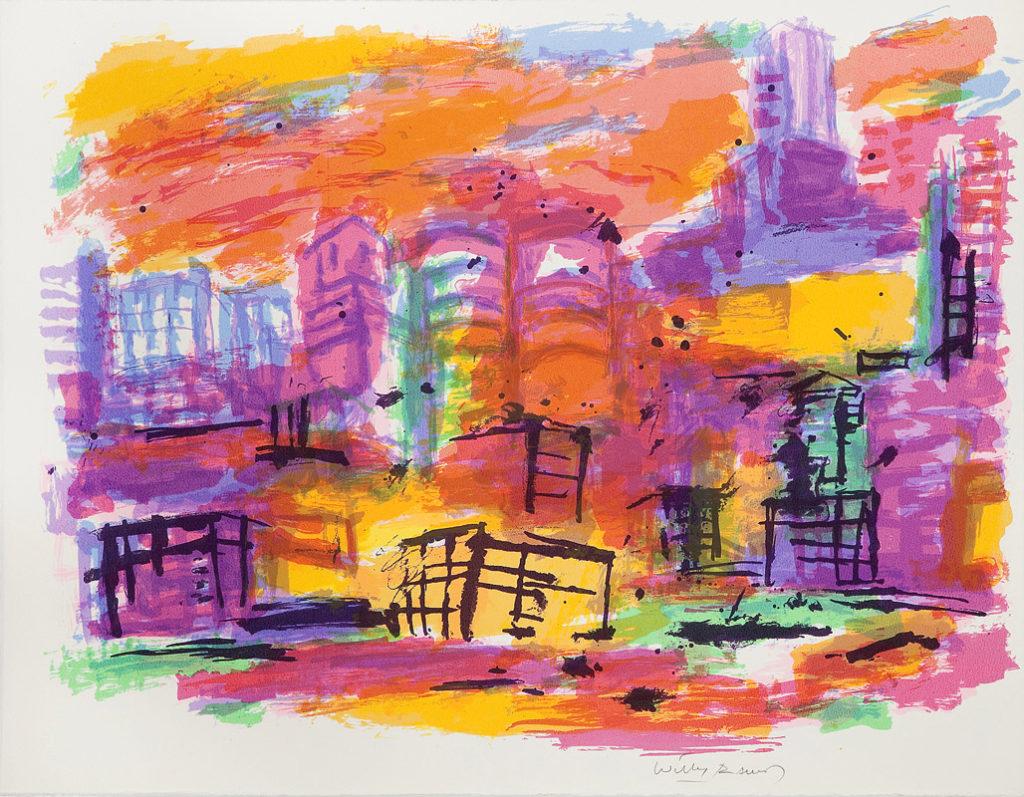 Chicago en naranja | Serigrafía a 12 colores. 50 x 65 cm. 2005
