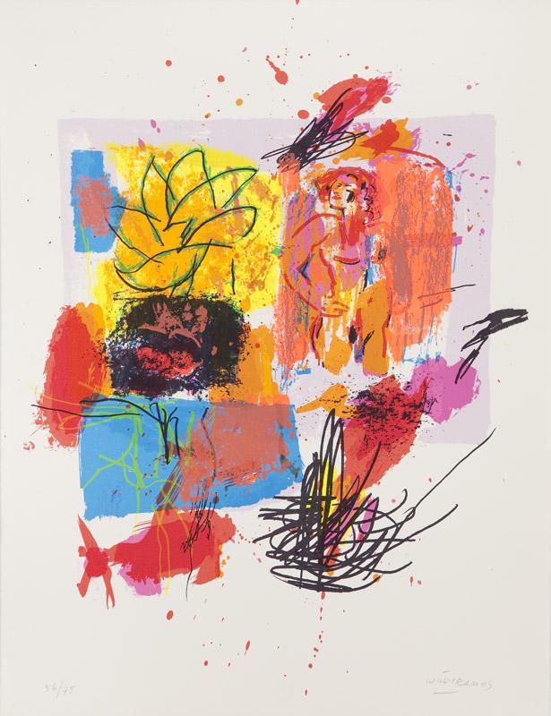 Desnudo con trazo naranja | De la memoria del color. Serigrafía a 13 colores sobre Papel Arches 250gr. Editada en el taller de Pepe Jiménez, La Hermita. 65 x 50 cm. 2001