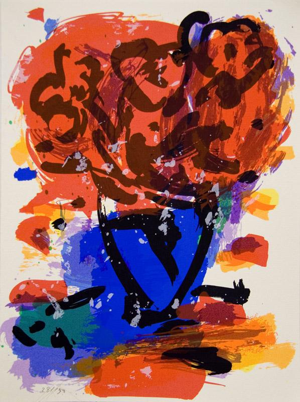 Flores y mancha azul | 150 ejemplares. Serigrafía a 10 colores sobre papel SuperAlfa 250gr. Editada en el Taller Pepe Jiménez, La Hermita. 38 x 28 cm. 2005