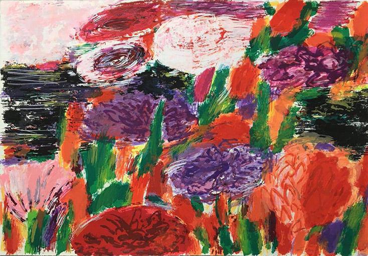 Jardín para enamorados | Serigrafía 33 colores sobre papel Arches 300gr. Editada en el Taller Pepe Jiménez, La Hermita. 76 x 112 cm. 2015