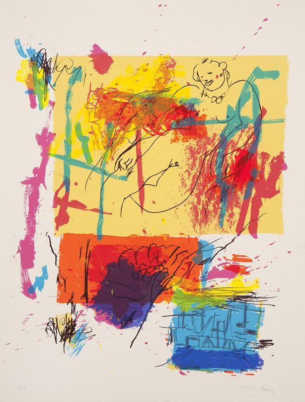 Mujer recostada en amarillo | Serigrafía a 12 colores. 65 x 50 cm. 2001