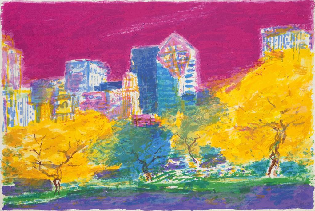 Suite Chicago I | Serigrafía a 33 colores sobre Papel Arches 300gr. Editada en el taller de Pepe Jiménez, La Hermita. 76 x 112 cm. 2000