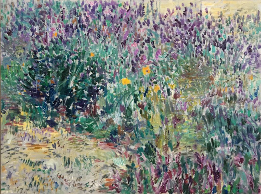 Flores violetas | Óleo / tela. 97 x 130 cm. 2019